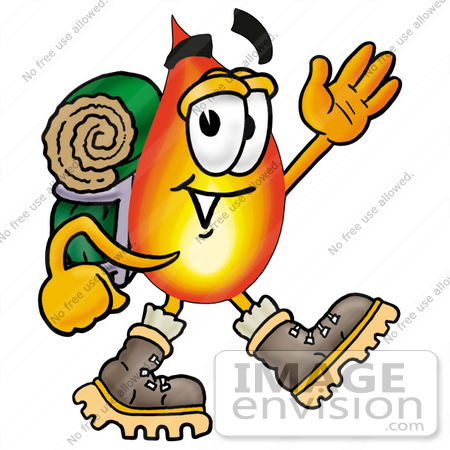 450x450 Cliprt Graphic Of Fire Cartoon Character Hikingnd Carrying