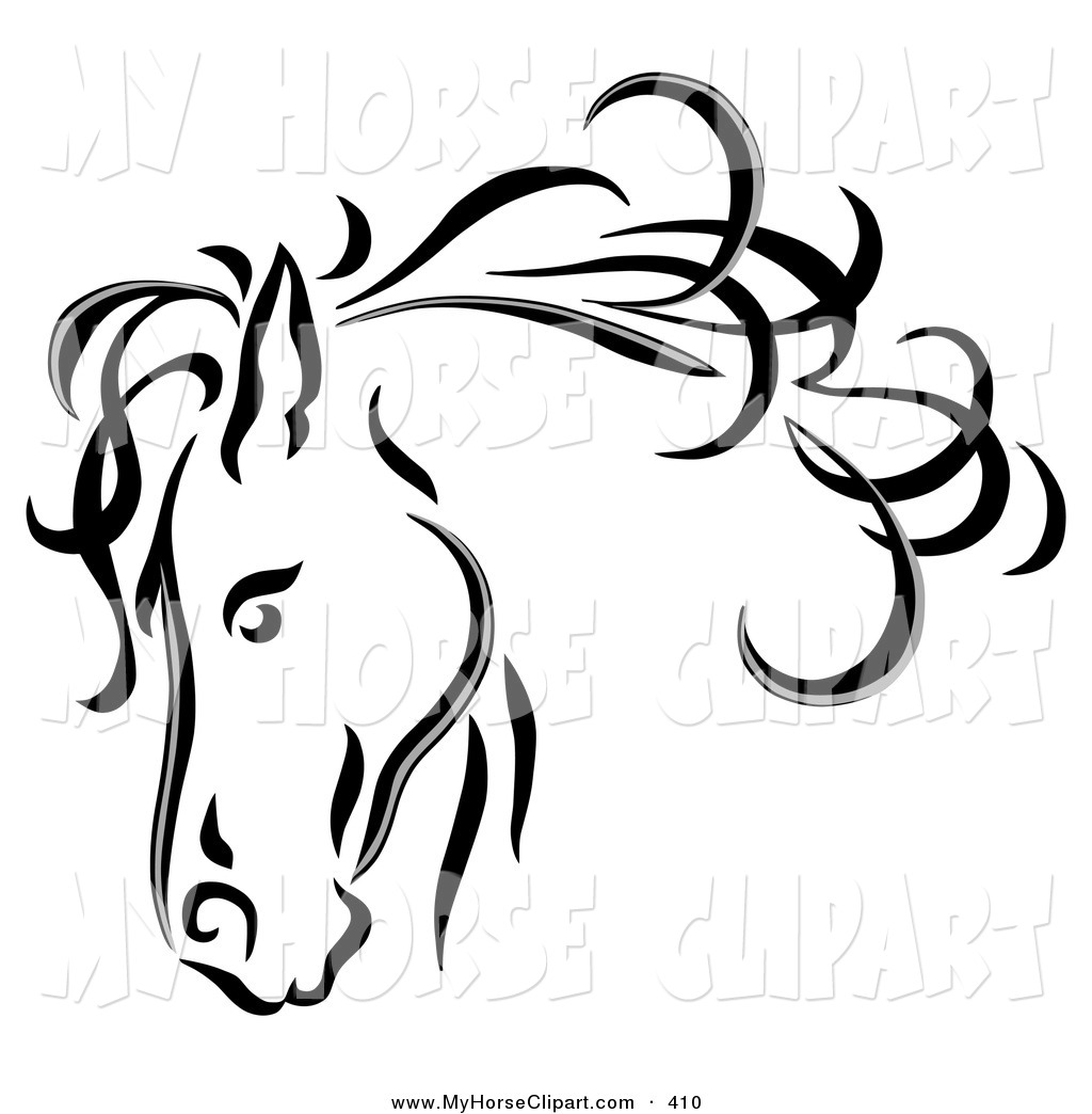1024x1044 Clip Art Of A Black Line Art Horse Head With A Billowing Mane By C
