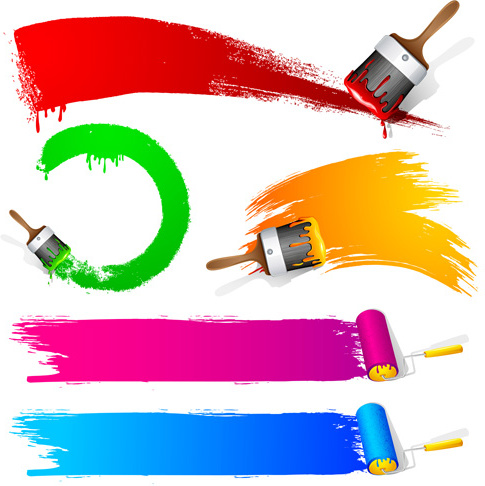 485x486 Coloful Paint Brushes Design Elements Free Vector In Encapsulated