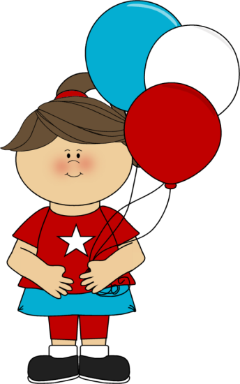 344x550 Girl Celebrating July 4th Clip Art