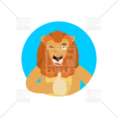 400x400 Round Emblem With Lion Winks With Thumbs Up Royalty Free Vector