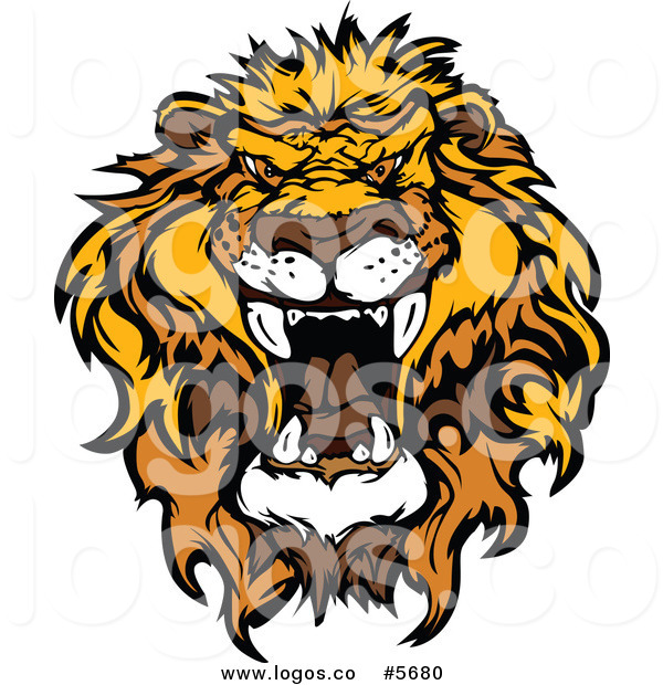 600x620 Royalty Free Vector Of A Logo Of A Mad African Lion Head By