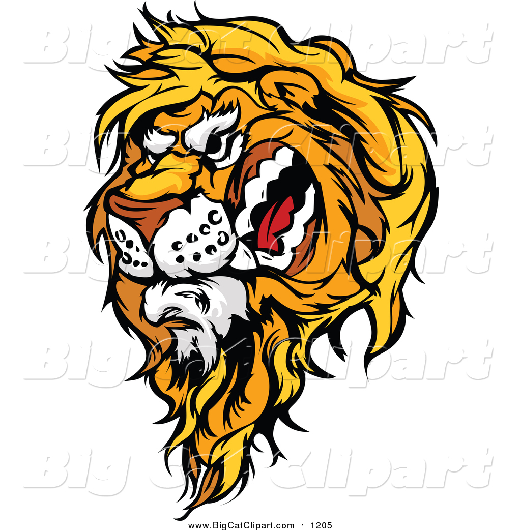 1024x1044 Big Cat Cartoon Vector Clipart Of A Vicious Male Lion Mascot Head
