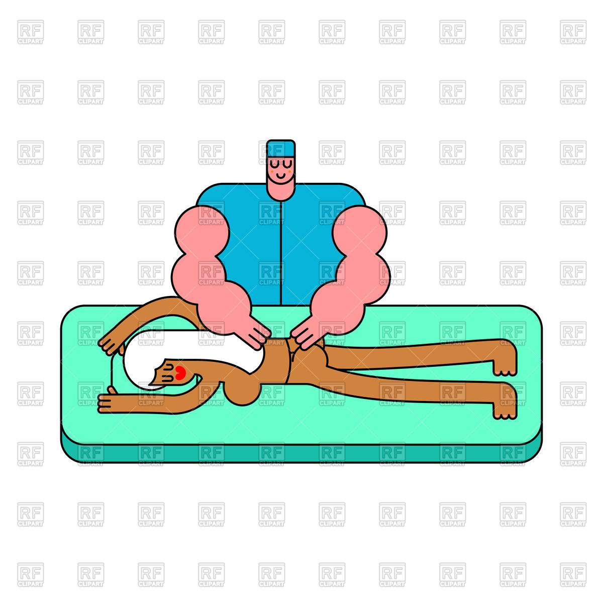 1200x1200 Masseur. Girl On Massage Table. Royalty Free Vector Clip Art Image