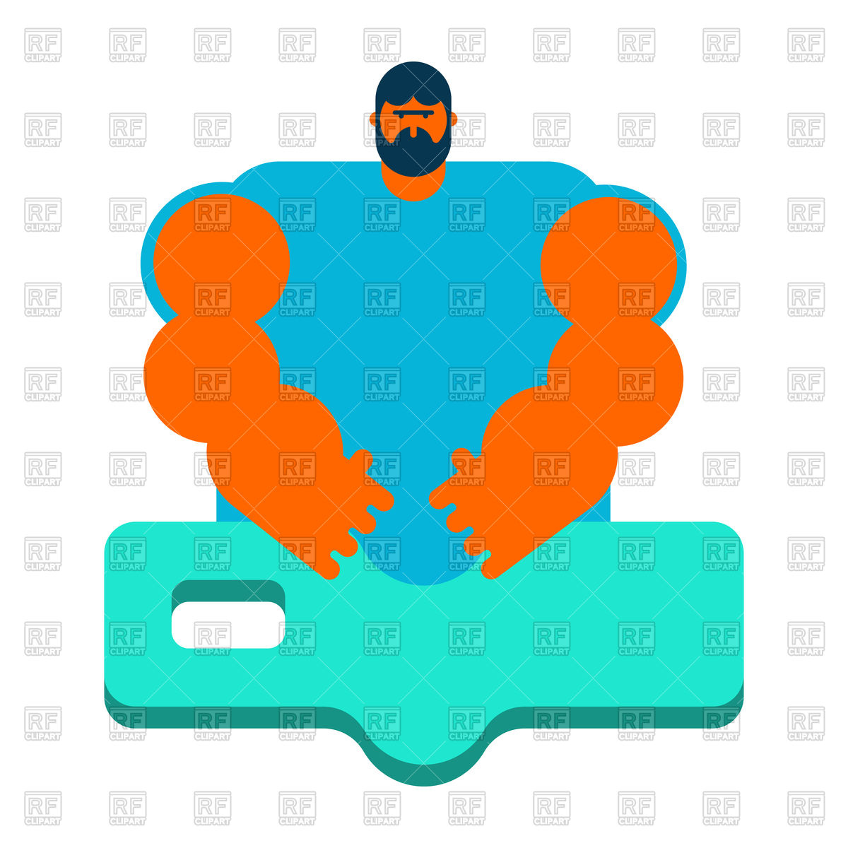 1200x1200 Masseur. Specialist For Massage. Royalty Free Vector Clip Art
