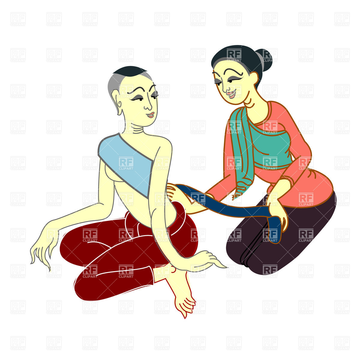 1200x1200 Thai Massage Relax Royalty Free Vector Clip Art Image