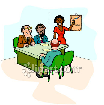 347x350 Black Woman Leading A Meeting With Co Workers Clip Art