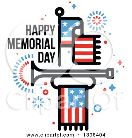 450x470 Clipart Of A Happy Memorial Day Greeting With An American Flag