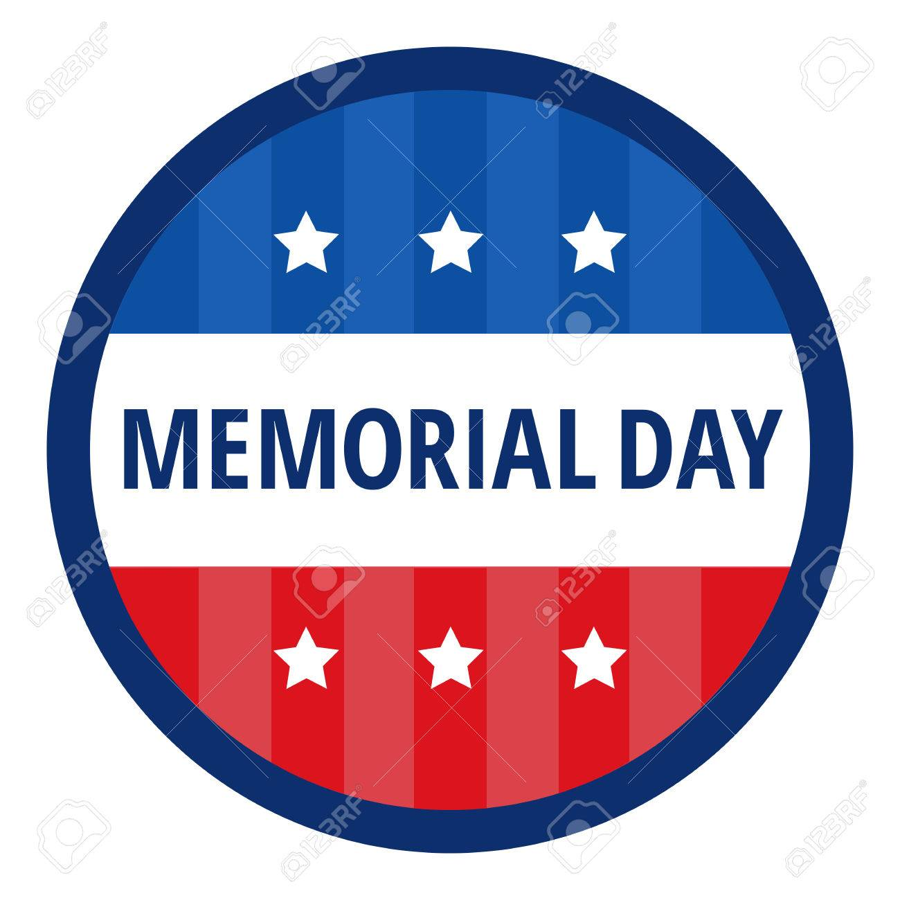 1300x1300 Memorial Day Color Badge In Circle Over White Background. Flat