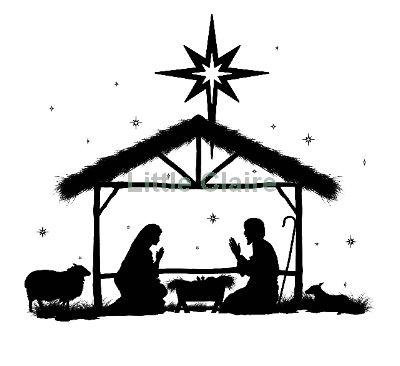 Free Nativity Clipart Black And White