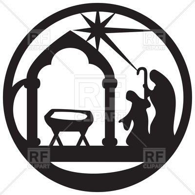 400x400 Adoration Of Magi Silhouette Icon. Scene Of Holy Bible Royalty