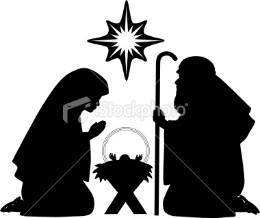 380x319 Nativity silhouettes including baby Jesus, Mother Mary, Joseph and