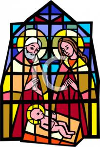 205x300 Stained Glass Window Showing The Nativity