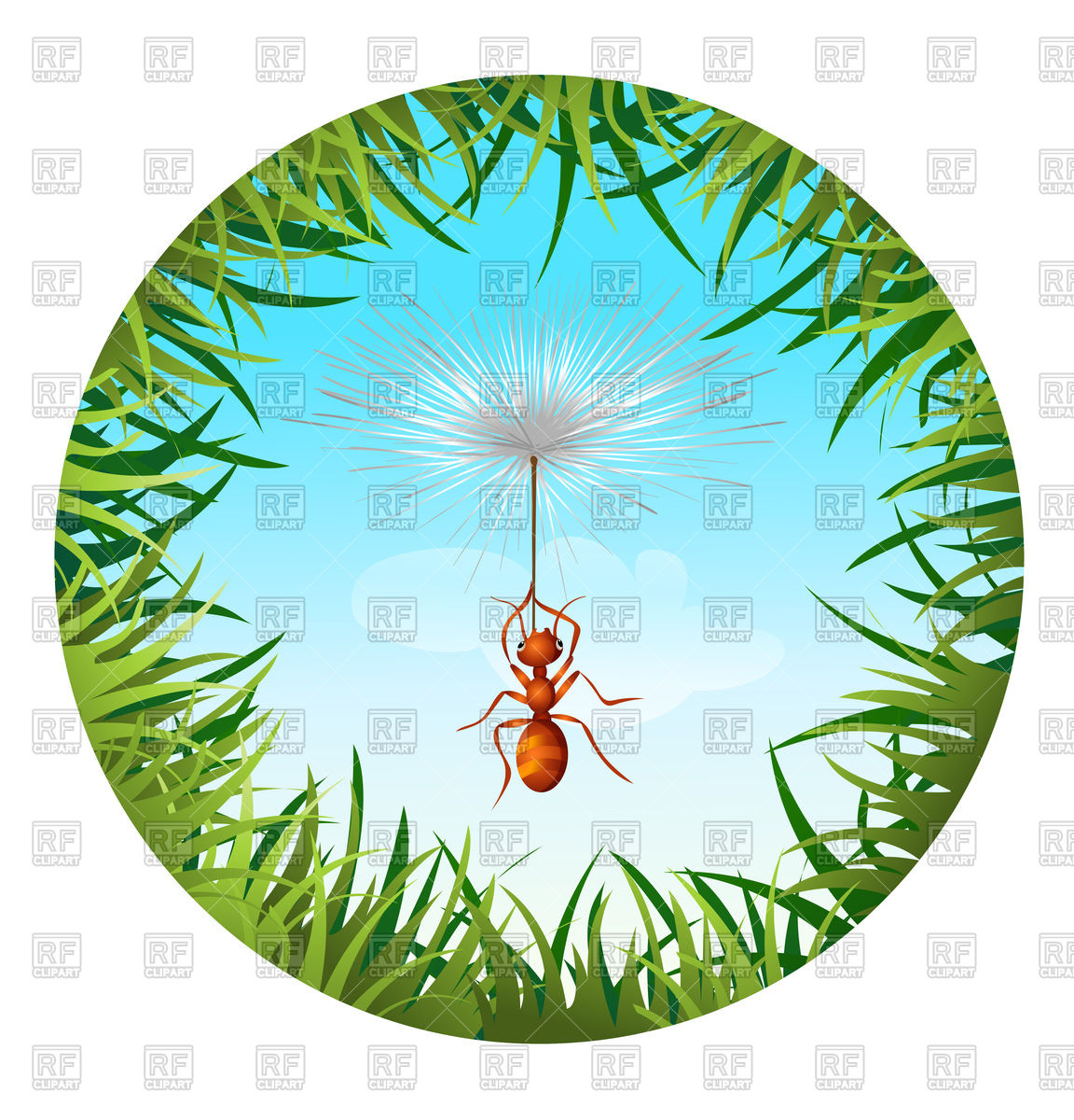 1152x1200 Insects And Summer Nature Icon. Ant In Sky Holding Dandelion