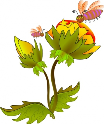 357x425 Bee And Flower Clip Art Vector, Free Vectors