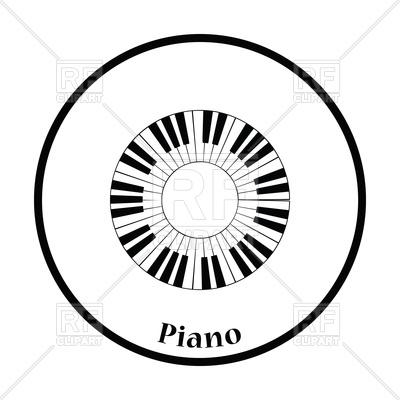 400x400 Thin Circle Design Of Piano Circle Keyboard Icon Royalty Free