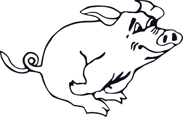 600x385 Outline Running Pig Clip Art Free Vector In Open Office Drawing