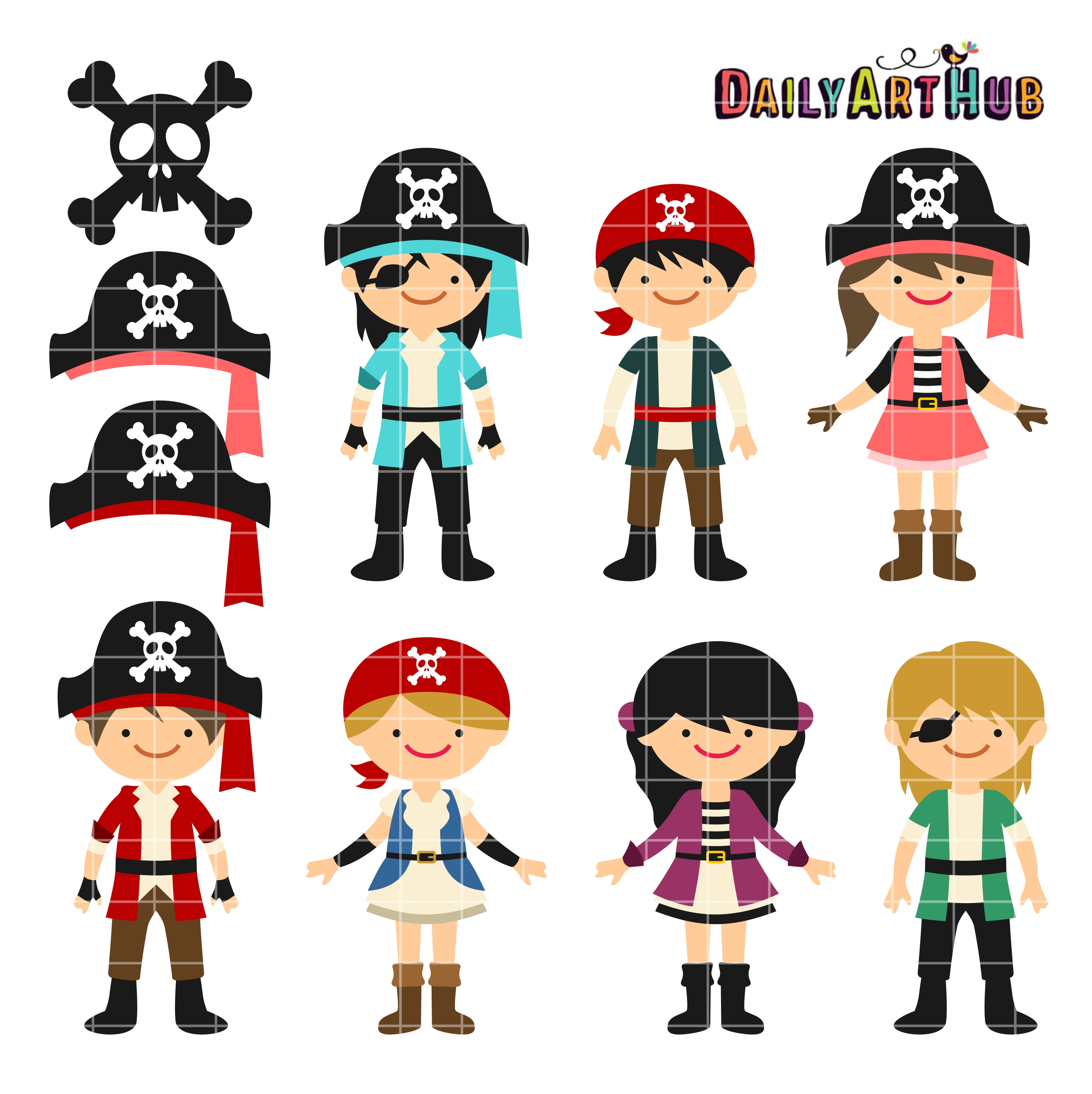 2664x2670 Free Pirates Clip Art Set Svg Cutting Files Clip