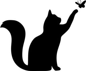 300x251 Clipart Illustration Of Silhouette Of Cat Playing