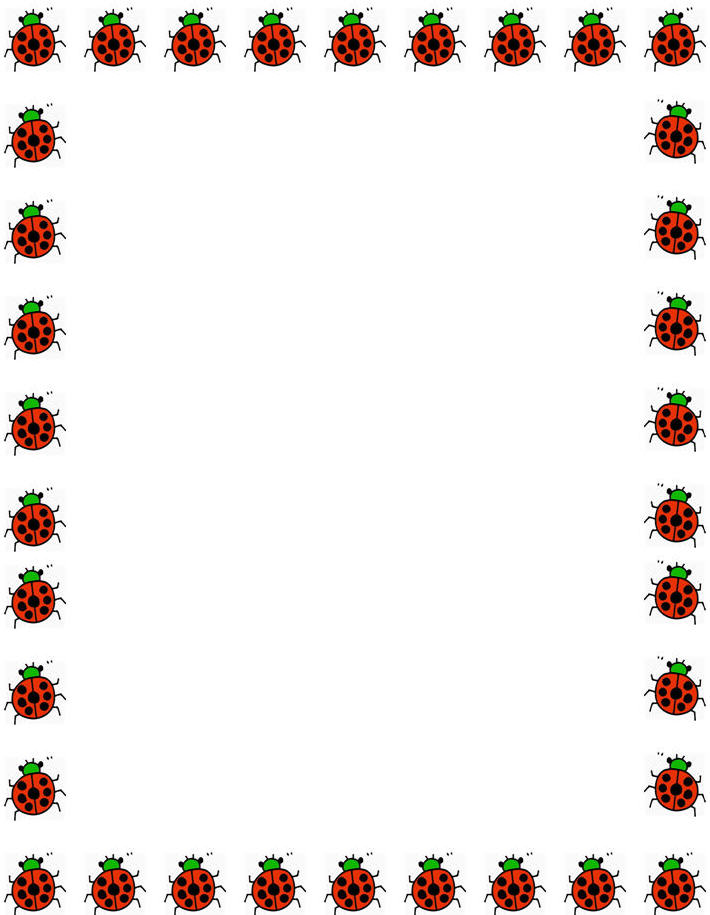 710x915 Free Ladybugs Border Stationery, Free Printable Ladybugs Border