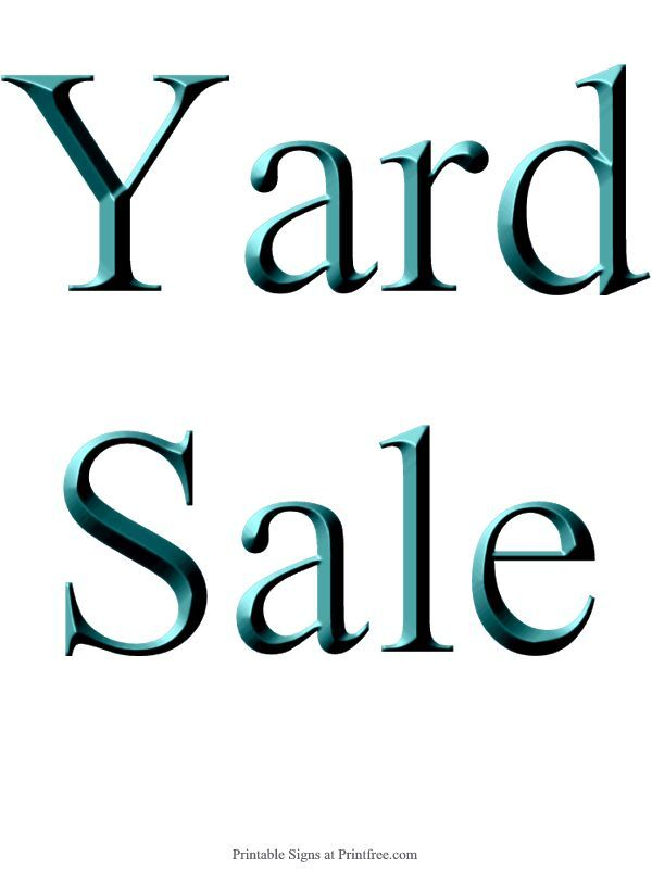 600x800 Yard Sale Sign Template
