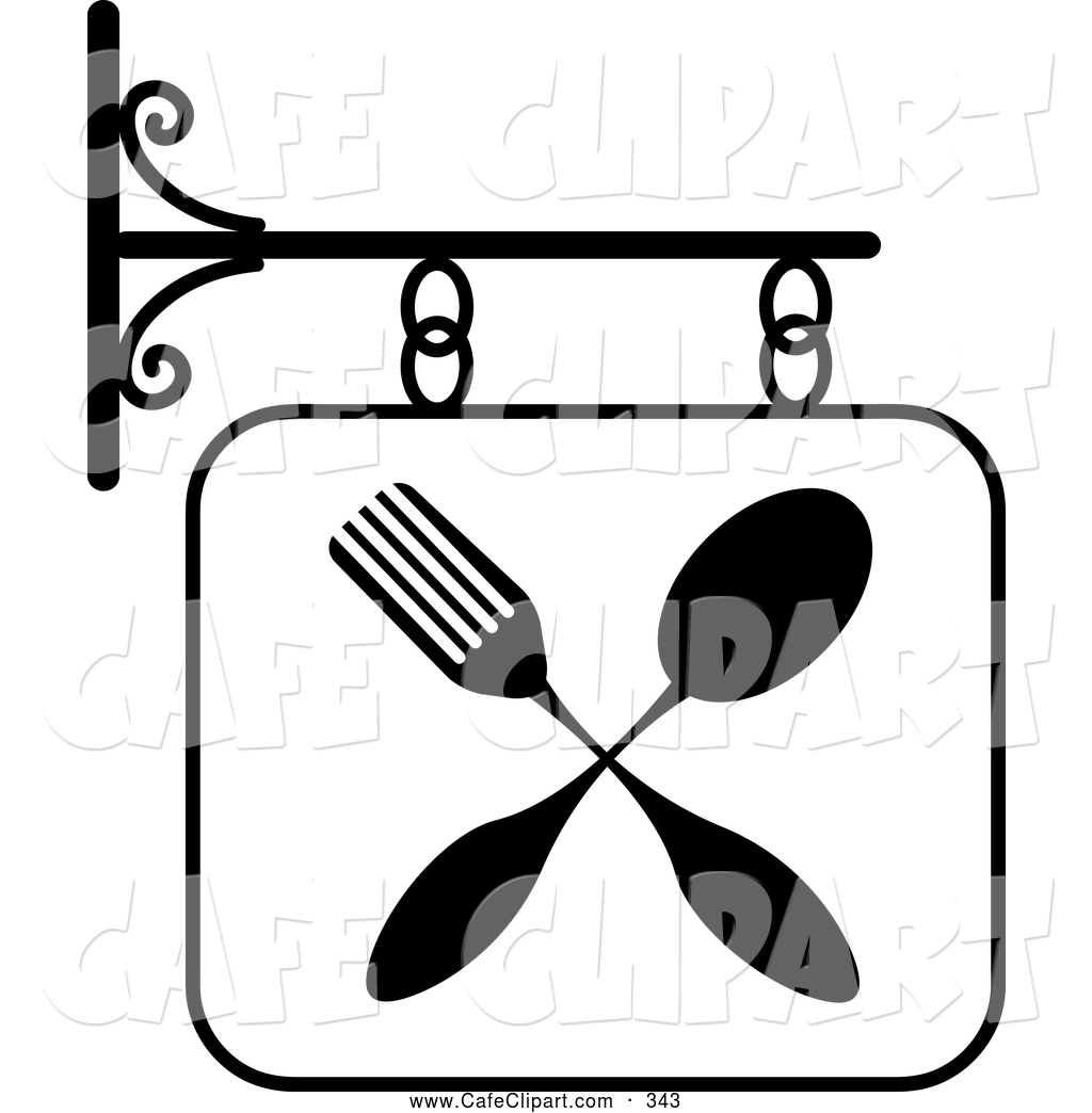 1024x1044 Vector Clip Art Of A Black And White Restaurant Sign With A Fork