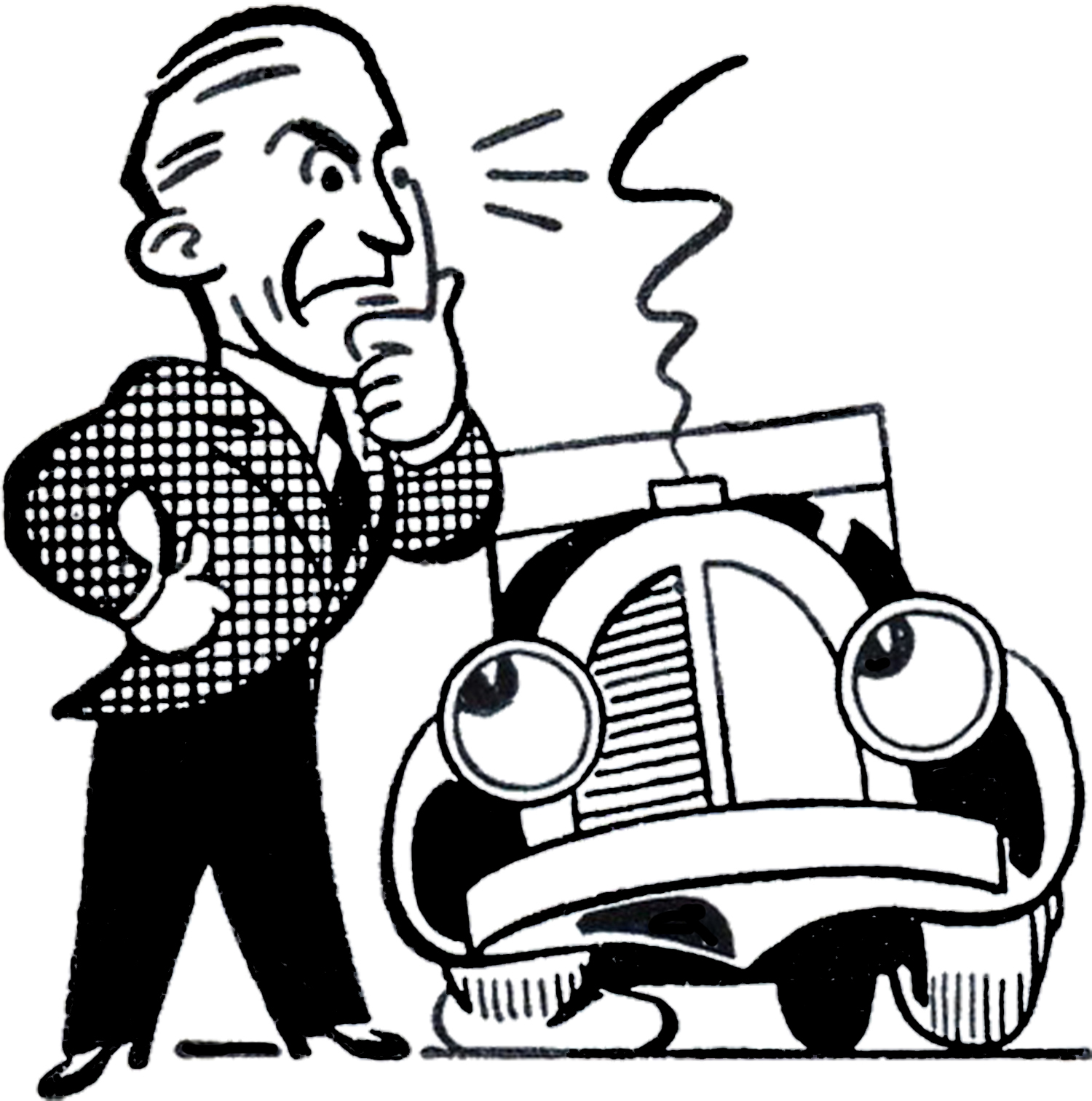 1500x1513 Retro Car Trouble Clip Art