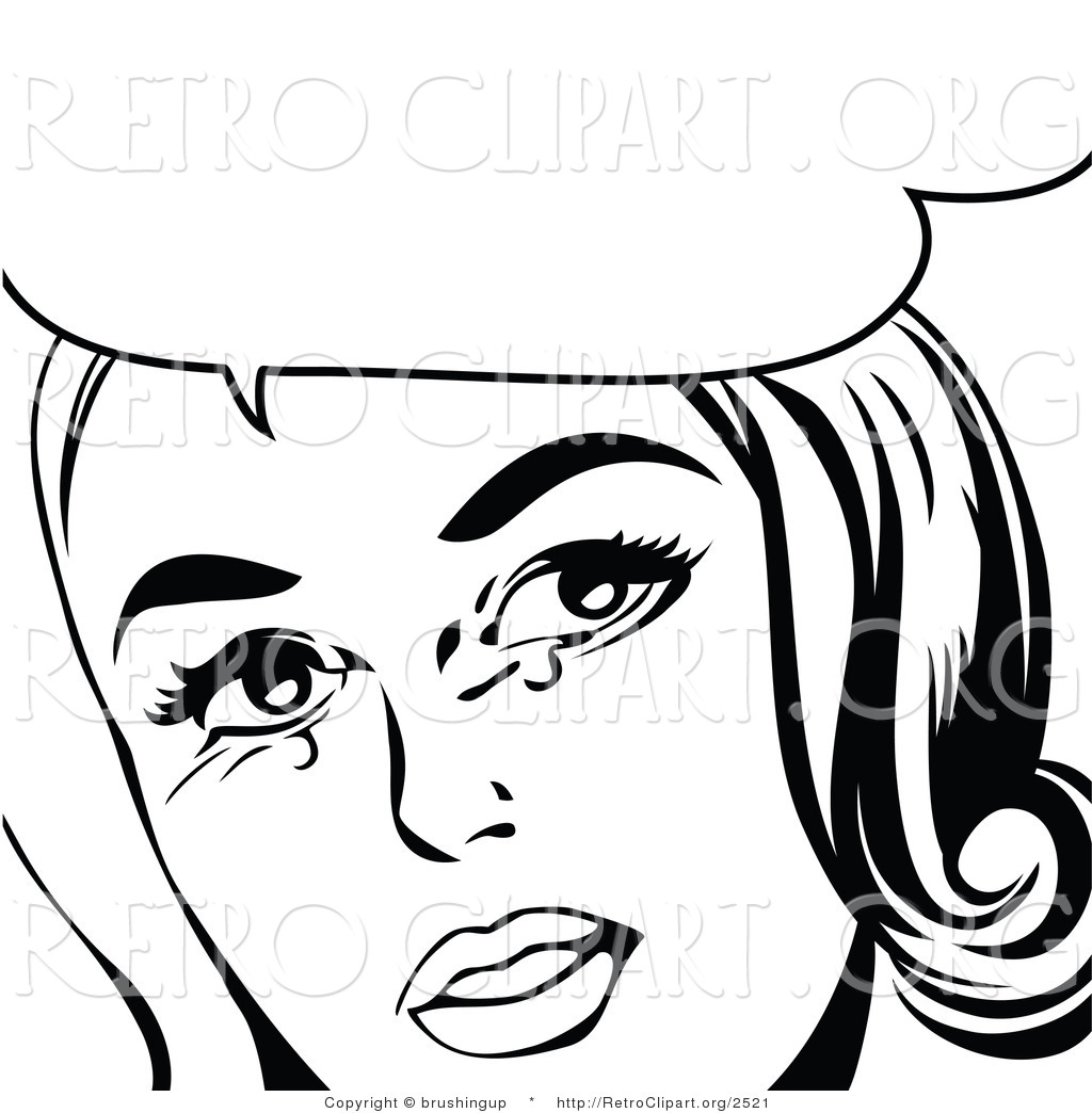 1024x1044 Vector Retro Clipart Of A Crying Pop Art Woman In Black And White