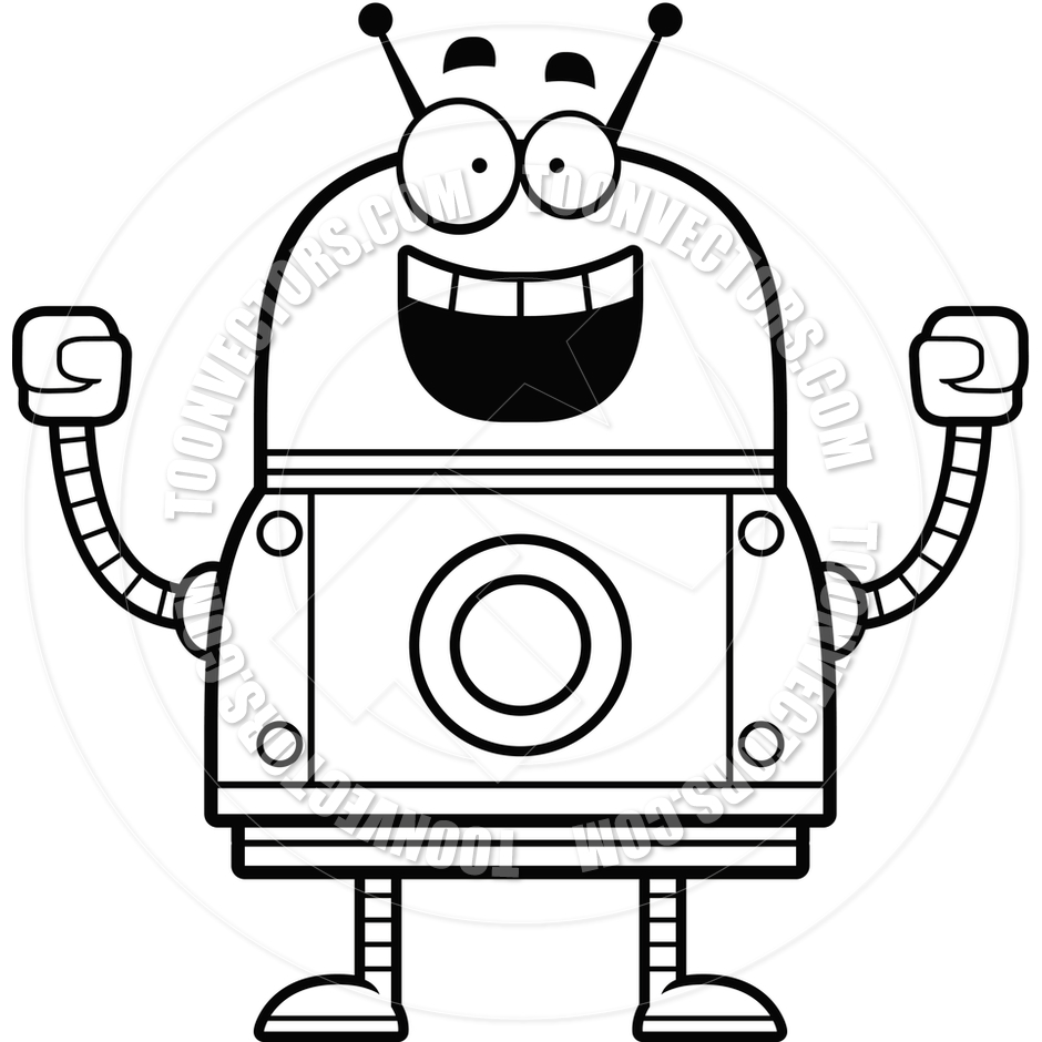 940x940 Robot Clipart Black And White