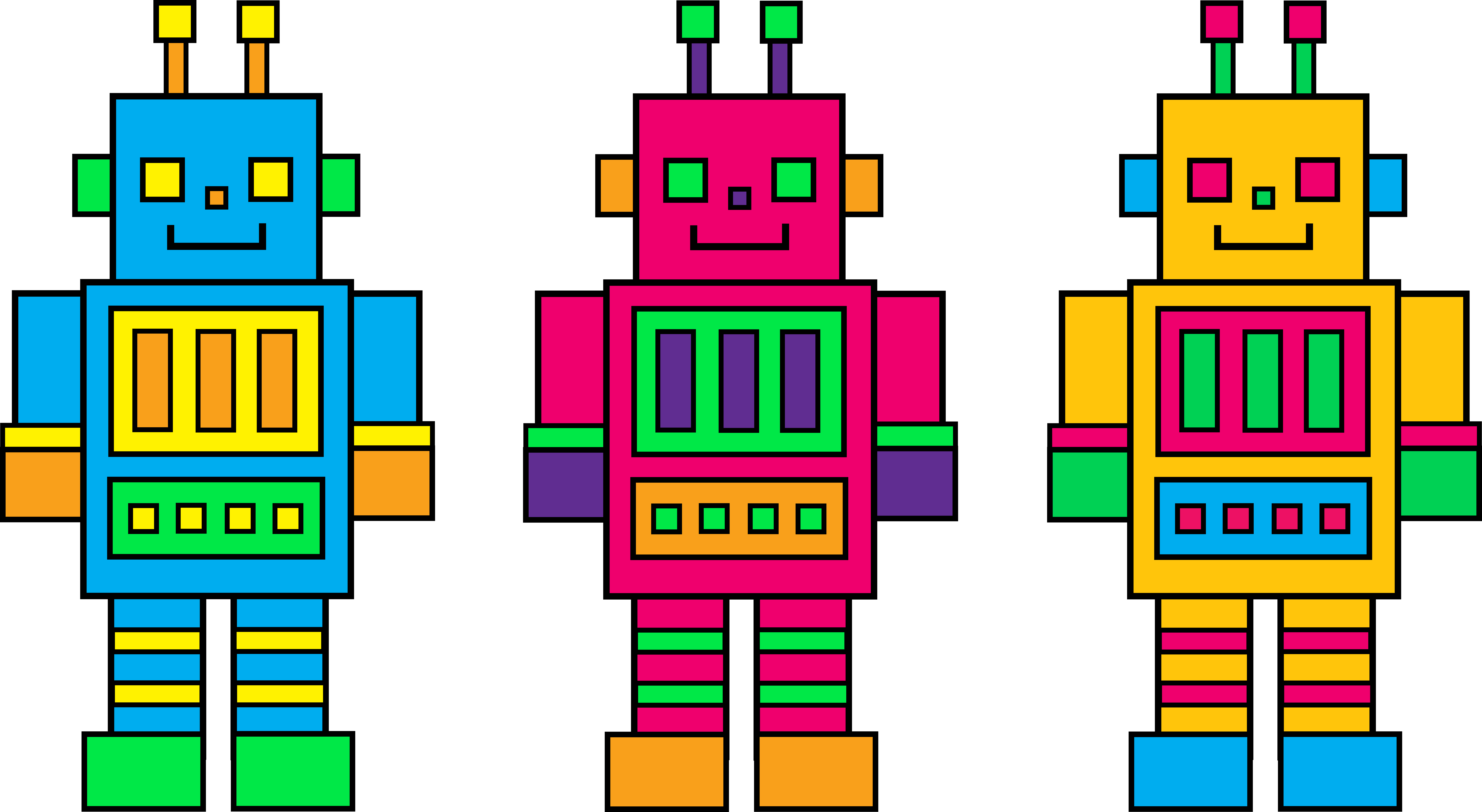 8744x4793 Three Colorful Little Robots