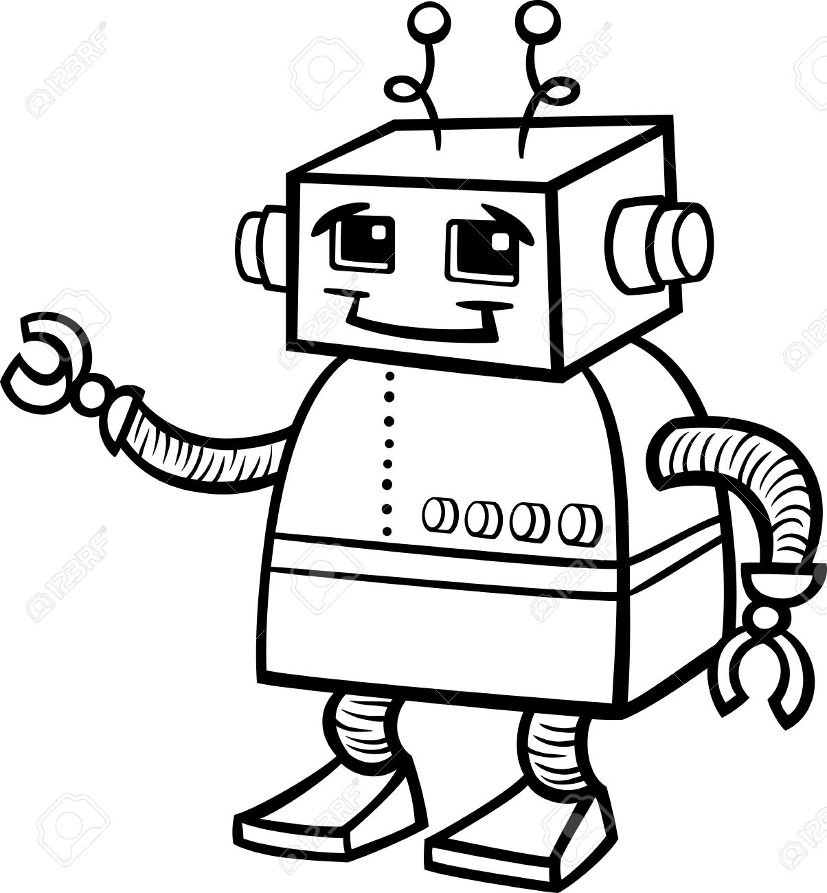 1204x1300 Free Robot Clipart Black And White