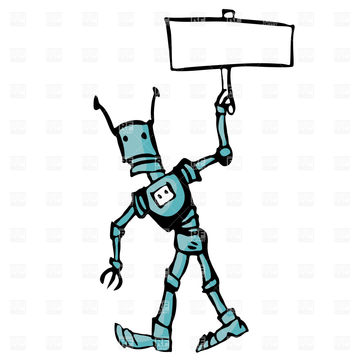 1200x1200 Cartoon Robot With Poster In Hand Royalty Free Vector Clip Art