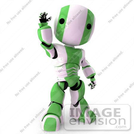 450x450 Clip Art Graphic Of A Green Futuristic Robot Waving