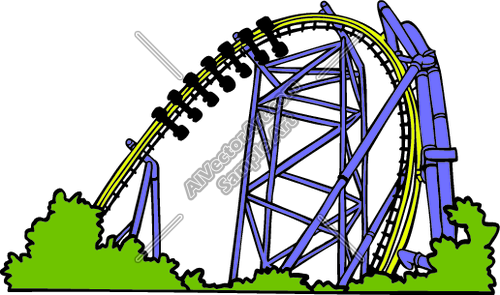 500x295 Roller Coaster Loop With Bushes Clipart And Vectorart Misc