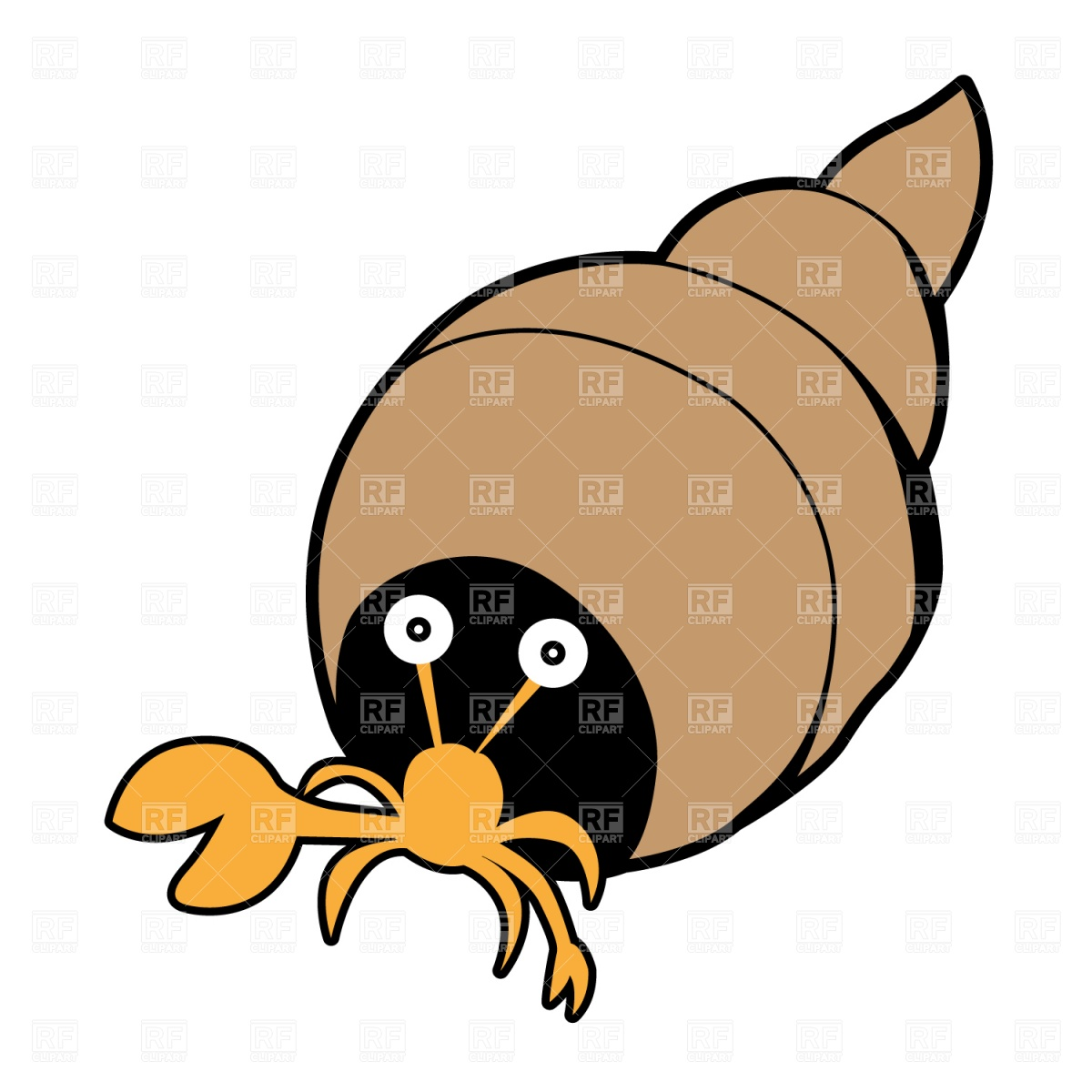 1200x1200 Crab in seashell Royalty Free Vector Clip Art Image