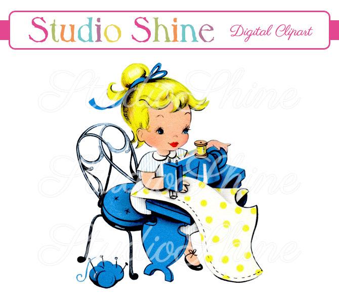 670x600 Vintage Digital Clipart Girl Sewing Printable Image Cute
