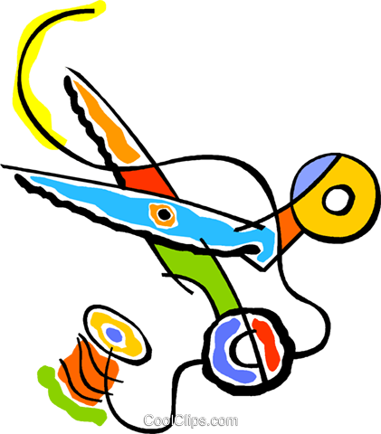 421x480 needle, thread, scissors, sewing Royalty Free Vector Clip Art