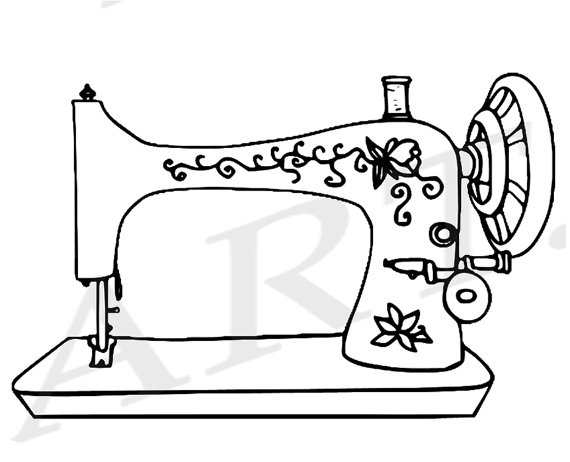 570x462 Sewing Machine Clipart Black And White