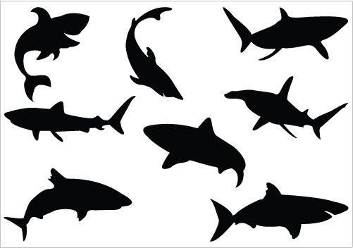 501x352 Shark Silhouette Clip Art Pack Clipart Panda