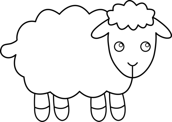550x389 Cute Sheep Line Art