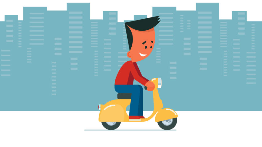 852x480 Food Delivery Concept. Boy Riding On Scooter Or Motorcycle