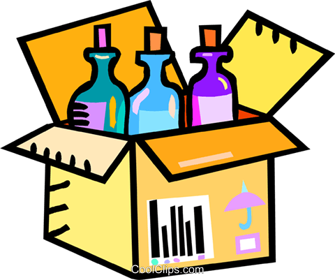 480x401 Wine Bottles In A Shipping Case Royalty Free Vector Clip Art