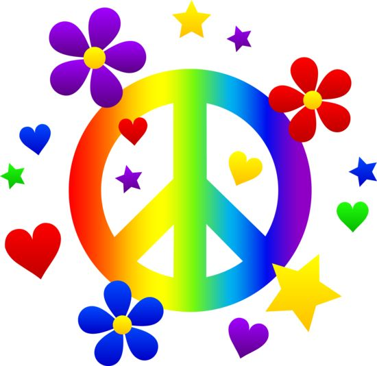 550x534 Free Clip Art Of A Rainbow Peace Sign With Hearts Stars