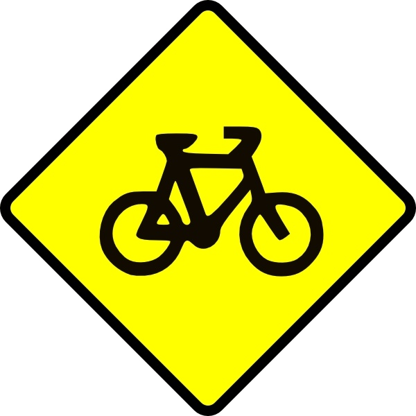 600x600 Caution Bike Road Sign Symbol Clip Art Free Vector In Open Office