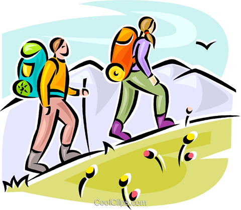 480x419 Hikers Walking Up Hill Royalty Free Vector Clip Art Illustration