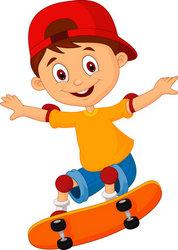 178x250 Skateboard Park Cartoon Little Boy Cartoon Skateboarding Stock