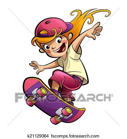 428x470 Drawings Of Cartoon Happy Smiling Kid Girl With Skateboard
