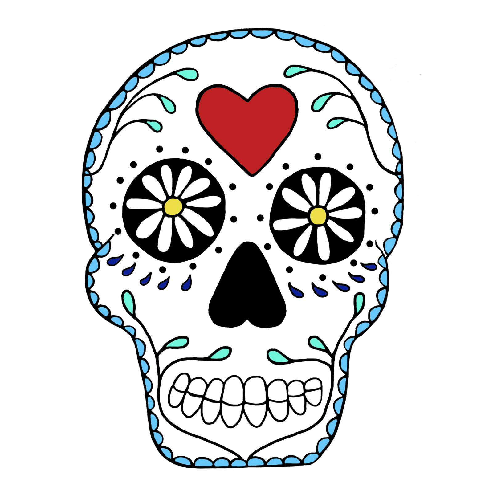 1600x1600 Simple Sugar Skull Clip Art White Clipart