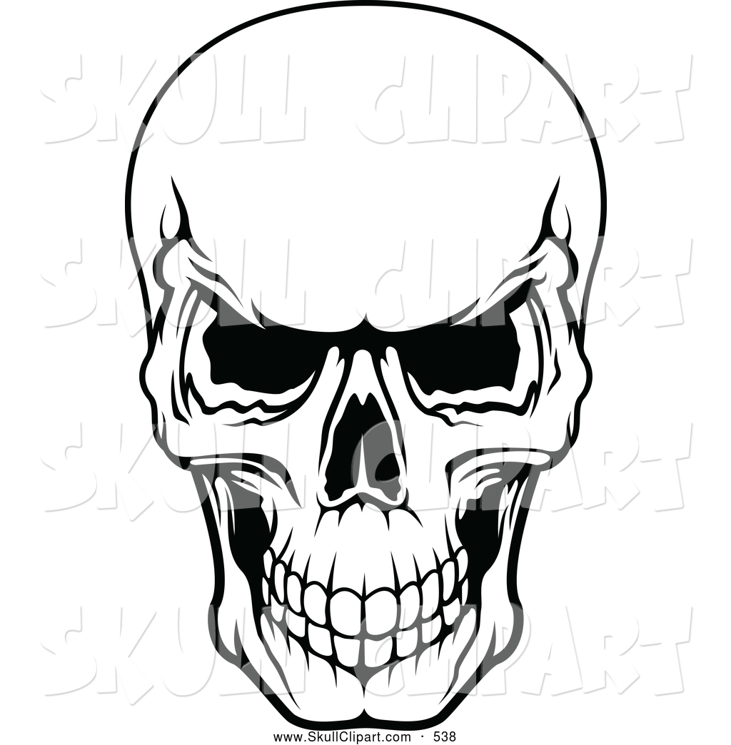 1024x1044 Vector Clip Art Of A Frightening Black And White Evil Human Skull