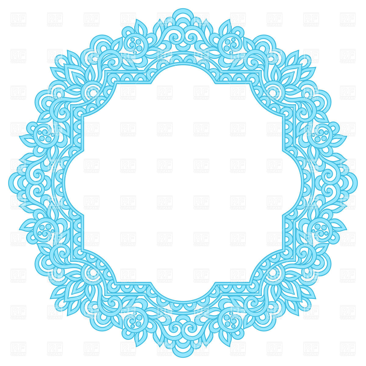 1200x1200 Blue Round Herbal Ornament Royalty Free Vector Clip Art Image